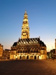 Town Hall in the Grand Place, Arras, France. Building started in the 11th century, blasted by the nazis, rebuilt from the rubble. At first sight it was pretty mind-blowing. Shot from my table at the cafe we consumed much vin rouge.l